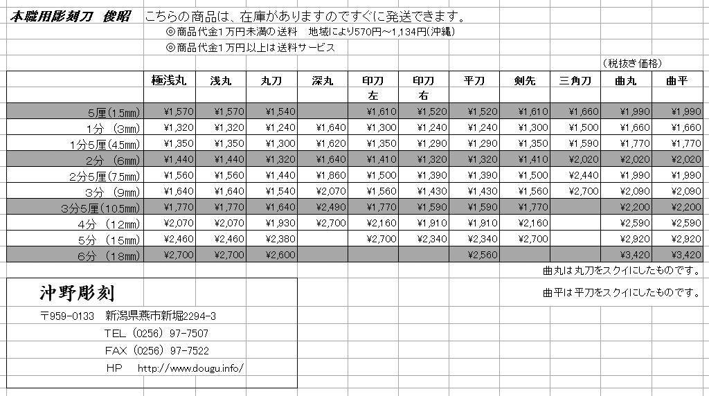 俊昭 彫刻刀価格表jpg